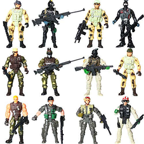 12 Pieces Military Soldier Playset Plastic Army Men Toys Soldiers Action Figures Playset with Military Weapons Accessories for Girls and Boys -