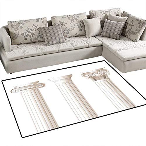 (Pillar Bath Mat 3D Digital Printing Mat Architecture Themed Design Ionic Doric and Corinthian Marble Columns Digital Print Door Mat Increase 3'x5' Coconut)
