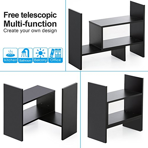FITUEYES Desktop Organizer Office Storage Rack Adjustable Wood Display Shelf - Free Style Display True Natural Stand Shelf Rack Counter Top BookcasShelf Rack Counter Top Bookcase DT306801WB by FITUEYES (Image #1)