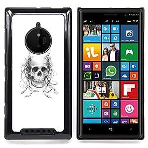 - Horned Medusa Skull - - Cubierta del caso de impacto con el patr??n Art Designs FOR Nokia Lumia 830 Queen Pattern