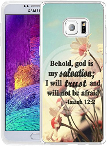 (Note 5 Case Christian Sayings,Hungo Soft TPU Silicone Protective Cover Compatible with Samsung Galaxy Note 5 Bible Verses Behold God is My Salvation I Will Trust and Will Not Be Afraid)