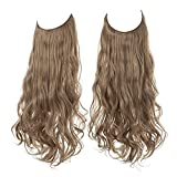 Short Halo Hair Extension Wavy Curly Synthetic Hairpiece Natural 14 Inch 3.7 Oz Hidden Wire Adjustable Headband for Women Heat Friendly Fiber No Clip SARLA (M04&12/24)