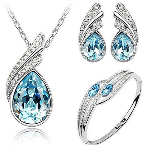 light blue crystal necklace - 2