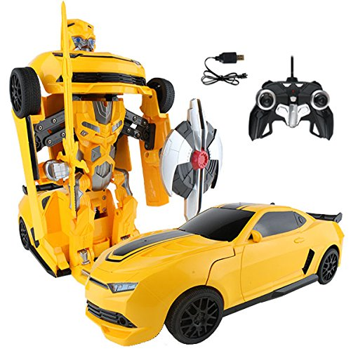 RC Toy Transforming Robot Remote Control (27 MHz) Yellow Sports Car with One Button Transformation, Realistic Engine Sounds and 360 Speed Drifting 1:14 Scale (Yellow) - Yellow Robot