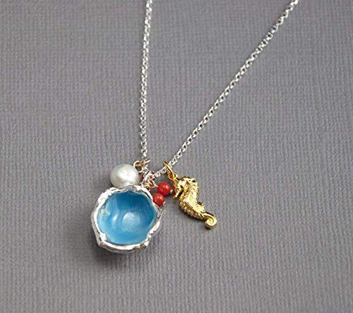 Blue Enamel Silver Pendant Charm Necklace with White Freshwater Pearl Genuine Red Coral and Gold Filled Sea Horse Charms 18