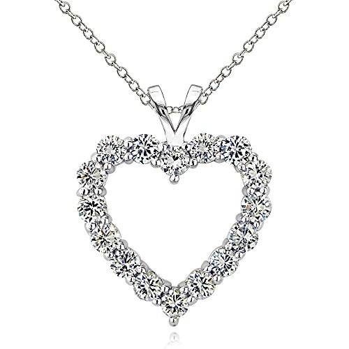 (Hoops & Loops Sterling Silver Cubic Zirconia Open Heart Necklace)
