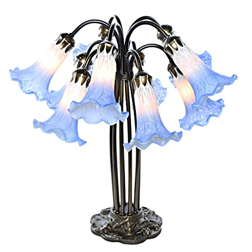 River of Goods 14711AB Hand-Painted Glass 10-Lily Downlight Table Lamp, (Blue Hand Painted Table Lamp)