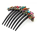 FACILLA Flower Mix Color Metal Rhinestone Chinese Stylish Wedding Hair Pin Hair Comb Hair Clip 422