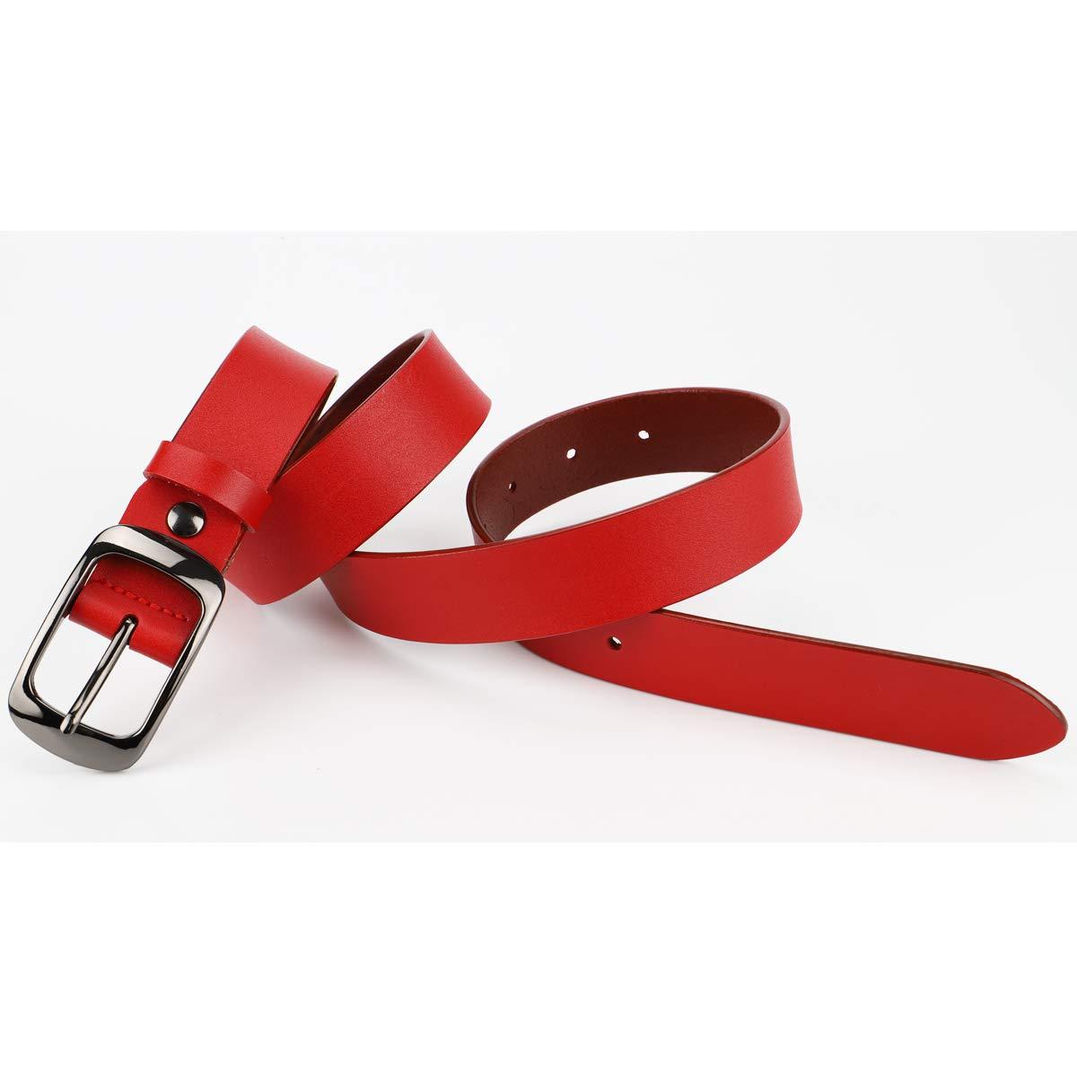 McFanBe Ladies Leather Belt for Women Girls Jeans Dress Pants 1.1 Width