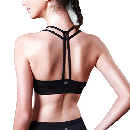Women's Yoga Bra Light Support Cross Back Wirefree Pad Soft Queenie Ke Size L Color Black Pro