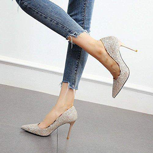 Stiletto Boca YMFIE Silver Baja Altos de Lentejuelas Plata Europeo Banquete Zapatos Acentuados Tacones Moda Partido Temperamento nYzqRYwA