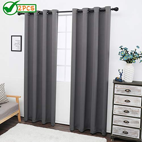 Twin Six 99% Blackout Curtains Thermal Insulated Window Drapes Room Darkening Curtains for Bedroom, 2 Panels (52 X 84, Gray)