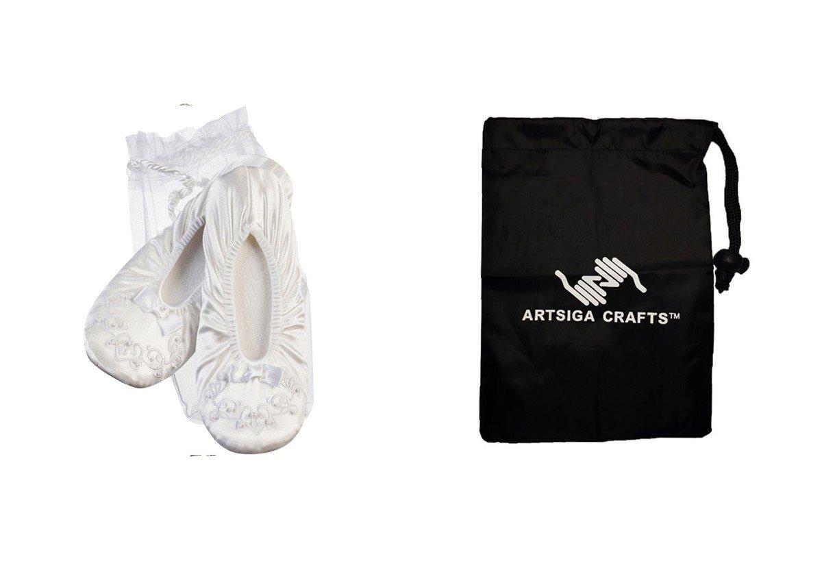 Darice Wedding Shower Victoria Lynn Ballerina Slippers White w/ Pearl Trim Voile Bag (6 Pack) VL1194W bundled with 1 Artsiga Crafts Small Bag by Homeline Goods Darice Wedding Shower
