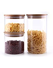 ComSaf Glass Storage Jars Set of 3-500/600/1200ML, BPA Free High Borosilicate Glass Cookies Jar with Bamboo Lid, Airtight Canisters for Bulk, Cylinder Cereal Container with Sealing