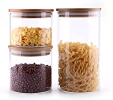 ComSaf Airtight Canisters for Bulk Food Storage Set of 3-17/22/43oz, BPA Free High Borosilicate Glass Cookies Jar with...