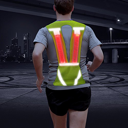 Vizpet Reflective Running Vest Led Safety Vest with Adjustable Waist & Large Pocket Night Light High Visibility for Jogging Biking Motorcycle Walking (Green Vertical) (Best Motorcycle Lights For Night Riding)