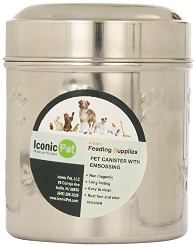 Iconic Pet 51654 Paw Print Stainless Steel Pet/Dog Canister with Embossing, Small - 37 oz (Bowl Pet Canister)