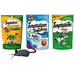 Temptations Low Calorie Cat Treats 3 Flavor Variety with Toy Bundle, 1 each: Chicken & Cheese Cheesy Middles, Salmon Tuna Tumblers, Seafood Medley (2.47-3 Ounces)