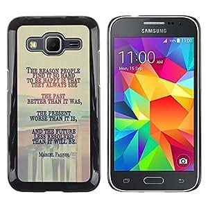 KLONGSHOP // Cubierta de piel con cierre a presión Shell trasero duro de goma Protección Caso - Marcel Pagnol MENSAJE PROFUNDO - Samsung Galaxy Core Prime //