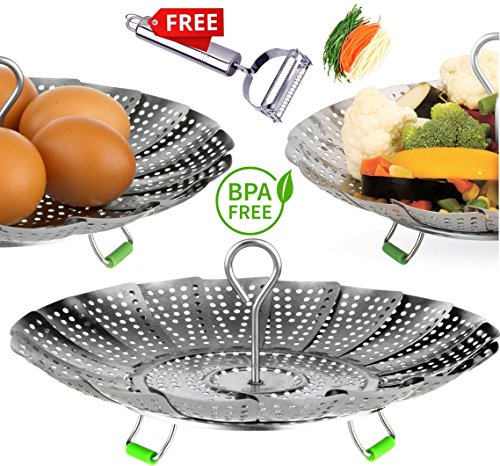 UPGRADE Steamer Basket - Stainless Steel Vegetable Steamer Basket - Instant pot accessories 3,5,6 & 8qt - Folding Steamer Insert for Veggie Fish Seafood Cooking, Expandable Size (5.5