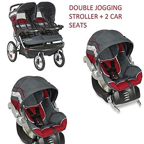 Baby Trend Navigator Baltic Double Jogger + 2 Car Seats