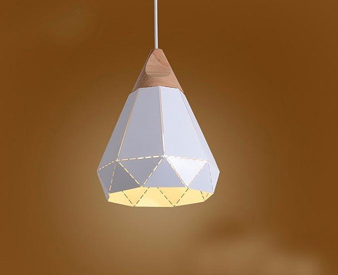 Bianco nero ferro pendente retrò lampade legno & metallo diamante