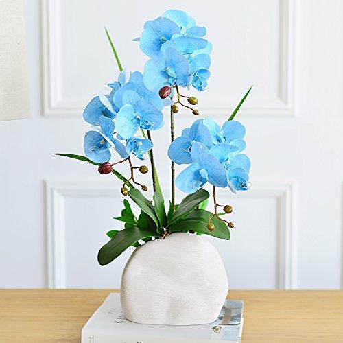 - SituMi Artificial Flowers The Orchid Pu Silk Flower Home Decoration Camellia Ornaments,Aqua-Blue