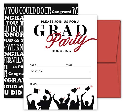 25 Red & Black Graduation Party Invitations with Envelopes for College, High School, University Grad Celebration or Announcement- Invite Cards Fill In Style- Party Decorations -