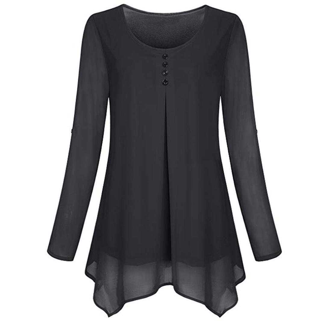 Women Roll-up Long Sleeve Shirt O-Neck Solid Flowy Chiffon Top Casual Pullover(Black,Small)