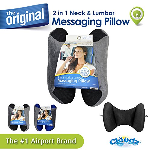 Cloudz 2 in 1 Neck & Lumbar Massaging Pillow - Black