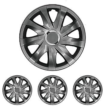 Tapacubos - Tapacubos Tapacubos DRIFT grafito 15 pulgadas 15? R15 universal apto para casi todos los vehículos estándar con llantas de acero por ejemplo ...