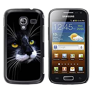 TopCaseStore / la caja del caucho duro de la cubierta de protección de la piel - Black White Cat House American Wirehair - Samsung Galaxy Ace 2 I8160 Ace II X S7560M