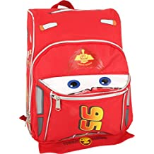 """Disney Pixar Cars Mcqueen Toddler 12"""" Backpack with Silver piping and zipper"""