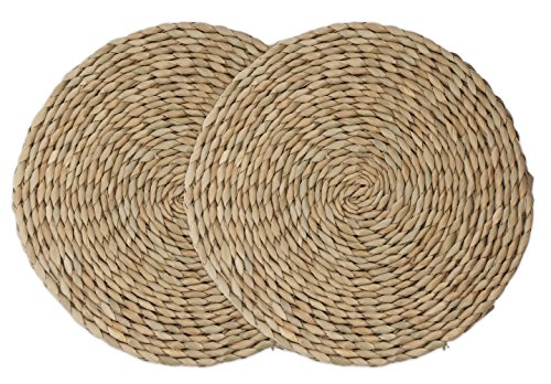 wellhouse Natural Cattail Placemats Round Woven Straw Placemats Rattan Placemats Handmade Dining Table Mats Insulation Pad No-Slip Pads (11.8Inch, Cattail-2)]()