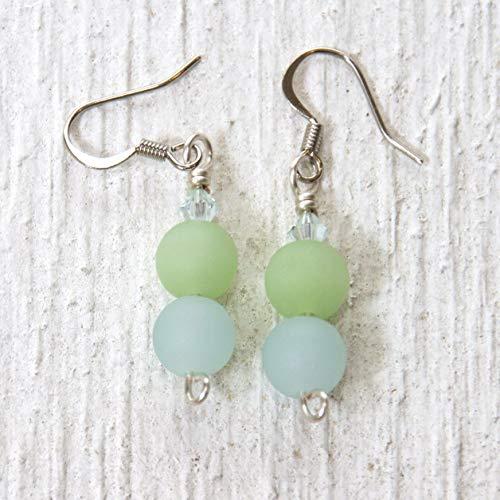 Light Blue and Lime Green Sea Glass Bead and Crystal Drop Earrings - Beachwear Jewelry