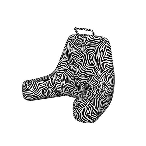 Ambesonne Stripes Foam Reading Pillow, Zebra Skin Pattern with Abstract Lines Monochrome Wild Animal Hide Design, Shredded Visco Bedrest with Washable Cover and Pocket, X-Large, White Black