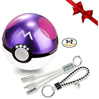 Ball Shaped Power Bank Dual USB Charger - 12000mAh Master Ball Backup Portable Battery w/ LED Light, Charging Cable and Travel Keychain Included,Holiday and Birthday Gifts for Her and Him