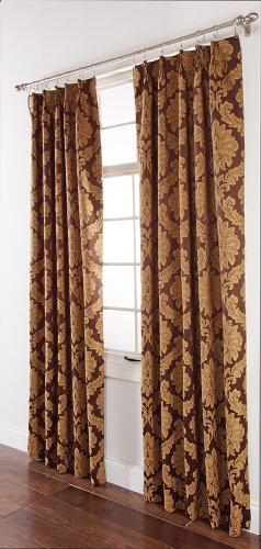 Pinch Pleated Brown Drapes - Stylemaster Renaissance Home Fashion Darby Pinch Pleated Drape Pair, 48 by 84-Inch, Café