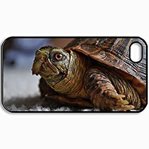 Customized Cellphone Case Back Cover For iPhone 4 4S, Protective Hardshell Case Personalized Eye Head Turtle Black