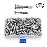 JUIDINTO 120pcs Zinc Self Drilling Drywall Anchors with Tapping Screws Hollow Wall Anchor Screw Kit