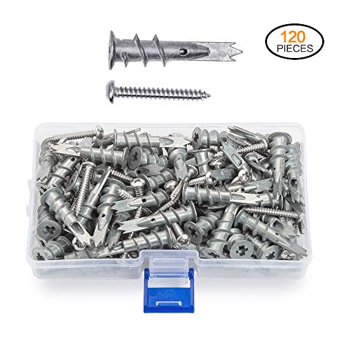 JUIDINTO 120 pcs Zinc Self Drilling Drywall Anchors with Tapping Screws Assortment Kit Hollow Wall Anchors M4.2 Stainless Steel Screws]()