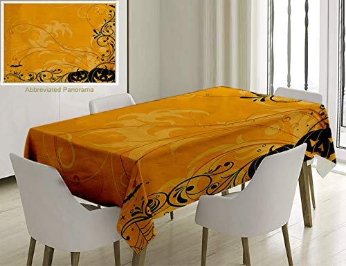 Unique Custom Cotton And Linen Blend Tablecloth Halloween Decorations Carved Pumpkins With Floral Patterns Bats And Spider Web Horror Themed Artwork OTablecovers For Rectangle Tables, 60 x 40 -