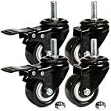 H&S® 4 x Heavy Duty 50mm Rubber Swivel Castor Wheels Trolley Furniture Caster - Sc