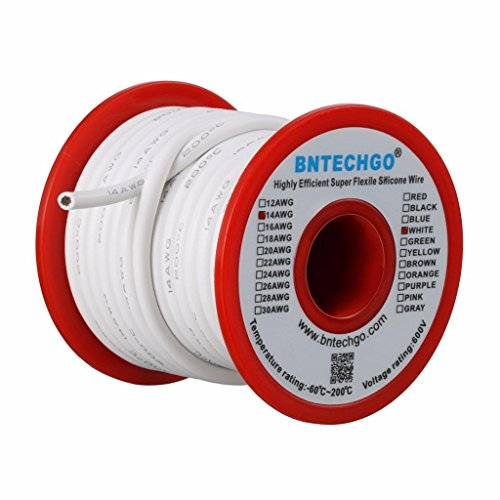 BNTECHGO 14 Gauge Silicone Wire Spool 25 ft White Flexible 14 AWG Stranded Tinned Copper Wire