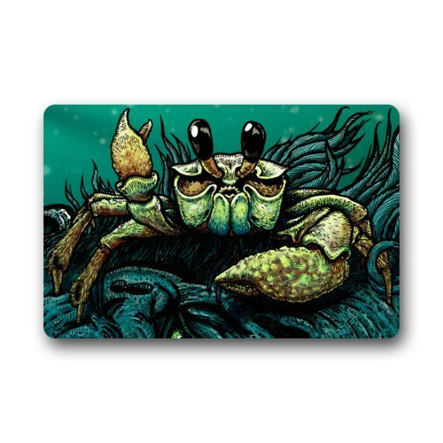 SPXUBZ Cartoon Cool Sea Crab Art Sea Ocean Animal Say Hallo Non Slip Entrance Rug Outdoor/Indoor Dirt Buster Durable and Waterproof Machine Washable Door Mat Size:18x30 Inch