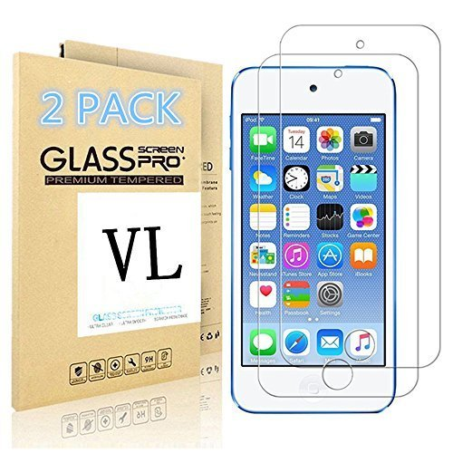iPod Touch Screen Protector, VL [Tempered Glass] for Apple iPod Touch 6th, 5th Generation, [Scratch Resist] [Bubble-Free] 0.2mm Ultra Thin 9H Hardness High Definition Premium Tempered Glass (2 PACK) (Ipod Touch Yellow)