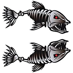 WINOMO 2Pcs 10x5 inch Fish Skeleton Decals Sticker Vinyl Auto Decal Sticker for Kayak Fishing Car