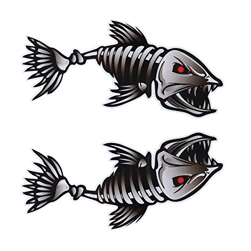 WINOMO 2Pcs 10x5 inch Fish Skeleton Decals Sticker Vinyl Auto Decal Sticker for Kayak Fishing Car