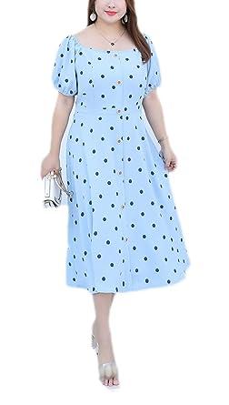 dccf64682f941 Women's Retro Vintage Dress Plus Size Summer Boho Polka Dots A Line ...