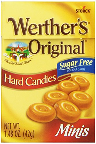 (WERTHER'S ORIGINAL Mini Sugar Free Hard Candies, 1.48 Ounce Flip Top Box (Pack of 12), Hard Candy, Bulk Candy, Individually Wrapped Candy Caramels, Caramel Candy Sweets, Bag of Candy, Hard Candy Bulk)